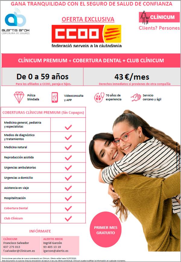 Clínicum ofereix una oferta exclusiva d'assistència sanitària per l'afiliació de CCOO