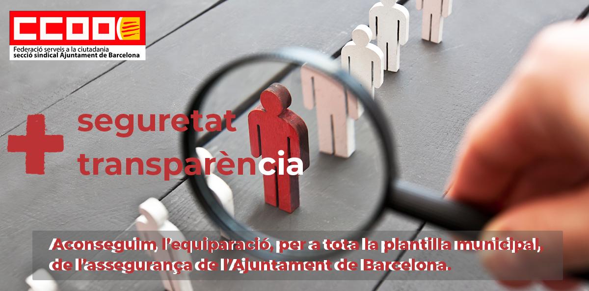 Aconseguim l'equiparació, per a tota la plantilla municipal, de l'assegurança de l'Ajuntament de Barcelona - Comissions Obreres